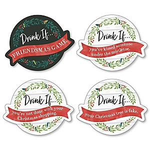 Drink If Game - Rustic Merry Friendsmas - Friends Christmas Party Game - 24 Count
