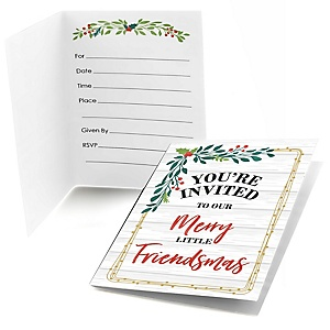 Rustic Merry Friendsmas - Fill In Friends Christmas Invitations