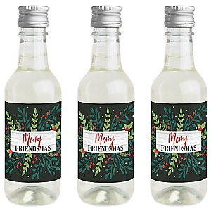 Rustic Merry Friendsmas - Mini Wine and Champagne Bottle Label Stickers - Friends Christmas Party Favor Gift - Set of 16