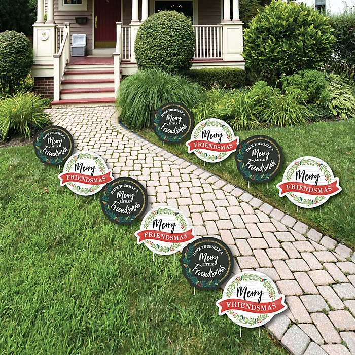Rustic Merry Friendsmas - Lawn Decorations - Outdoor Friends Christmas Party Yard Decorations - 10 Piece