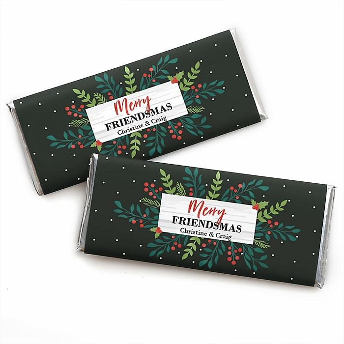 Rustic Merry Friendsmas - Personalized Candy Bar Wrappers Friends Christmas Favors - Set of 24