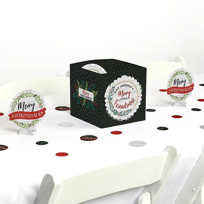 Rustic Merry Friendsmas - Friends Christmas Party Centerpiece & Table Decoration Kit