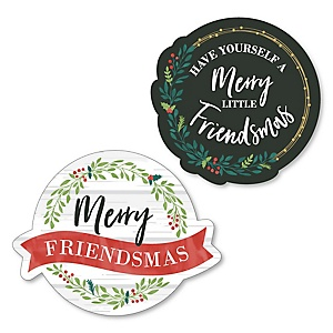 Rustic Merry Friendsmas - DIY Shaped Friends Christmas Party Cut-Outs - 24 ct