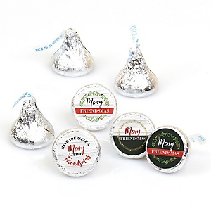 Rustic Merry Friendsmas - Friends Christmas Party Round Candy Sticker Favors - Labels Fit Hershey's Kisses (1 sheet of 108)