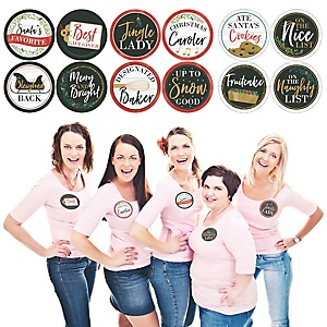 Rustic Merry Friendsmas - Friends Christmas Party Funny Name Tags - Party Badges Sticker Set of 12