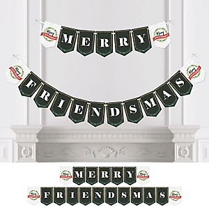 Rustic Merry Friendsmas - Personalized Friends Christmas Party Bunting Banner & Decorations