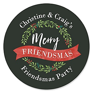 Rustic Merry Friendsmas - Personalized Round Friends Christmas Party Sticker Labels - 24 ct