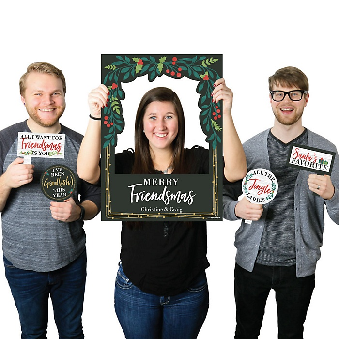 Rustic Merry Friendsmas - Personalized Friends Christmas Selfie Photo Booth Picture Frame & Props - Printed on Sturdy Material