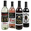 Rustic Merry Friendsmas - Friends Christmas Party Wine Bottle Label Stickers - Set of 4