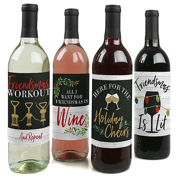 Rustic Merry Friendsmas - Friends Christmas Party Decorations for Women and Men - Wine Bottle Label Stickers - Set of 4