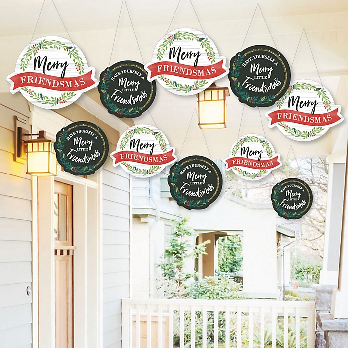 Hanging Rustic Merry Friendsmas - Outdoor Friends Christmas Hanging Porch & Tree Yard Decorations - 10 Pieces