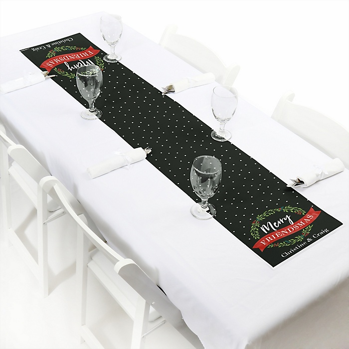 """Rustic Merry Friendsmas - Personalized Petite Friends Christmas Table Runner - 12"""" x 60"""""""