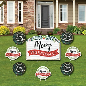 Rustic Merry Friendsmas - Yard Sign & Outdoor Lawn Decorations - Friends Christmas Yard Signs - Set of 8
