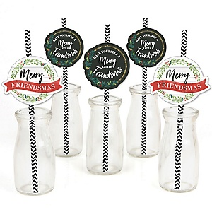 Rustic Merry Friendsmas - Friends Christmas Party Paper Straw Decor - Party Striped Decorative Straws - Set of 24