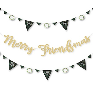 Rustic Merry Friendsmas - Friends Christmas Letter Banner Decoration - 36 Banner Cutouts and Let It Snow Banner Letters