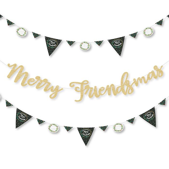 Rustic Merry Friendsmas - Friends Christmas Letter Banner Decoration - 36 Banner Cutouts and Let It Snow Banner Letters