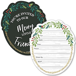 Rustic Merry Friendsmas - Shaped Fill-In Invitations - Friends Christmas Party Invitation Cards with Envelopes - Set of 12
