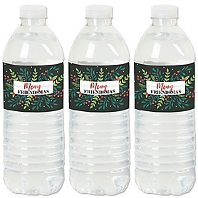 Rustic Merry Friendsmas - Friends Christmas Party Water Bottle Sticker Labels - Set of 20