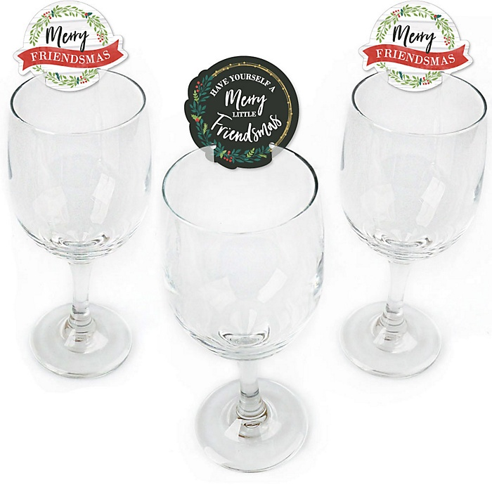 Rustic Merry Friendsmas - Shaped Friends Christmas Wine Glass Markers - Set of 24