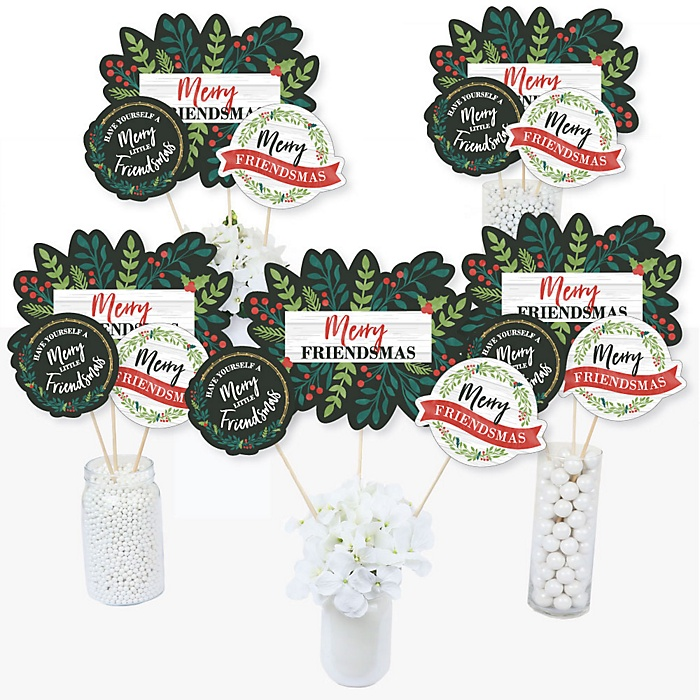 Rustic Merry Friendsmas - Friends Christmas Party Centerpiece Sticks - Table Toppers - Set of 15