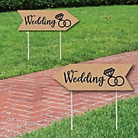 Rustic Wedding Signs Sign Arrow Double Sided Directional Yard Set Of 2
