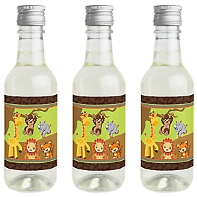 Funfari - Fun Safari Jungle - Mini Wine and Champagne Bottle Label Stickers - Baby Shower or Birthday Party Favor Gift for Women and Men - Set of 16