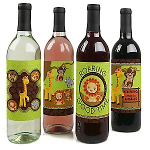 Funfari - Fun Safari Jungle - Baby Shower or Birthday Party Decorations for Women and Men - Wine Bottle Label Stickers - Set of 4
