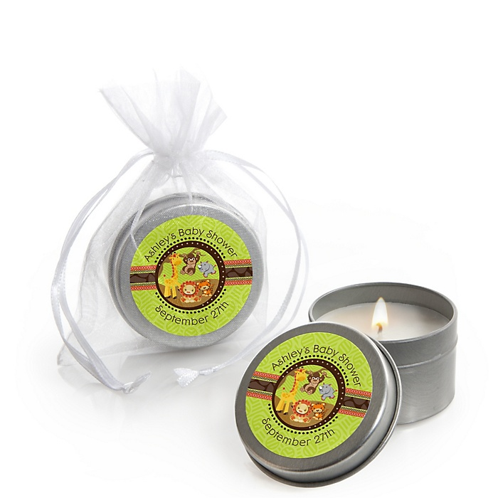 Funfari™ - Fun Safari Jungle - Personalized Baby Shower Candle Tin Favors - Set of 12
