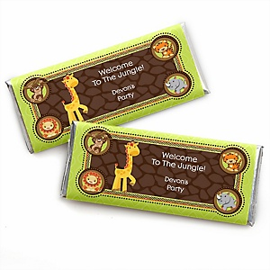 Funfari™ - Fun Safari Jungle - Personalized Candy Bar Wrapper Baby Shower or Birthday Party Favors - Set of 24