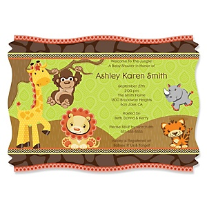 Funfari™ - Fun Safari Jungle - Personalized Baby Shower Invitations - Set of 12