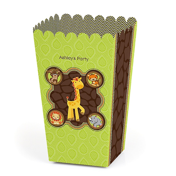Funfari™ - Fun Safari Jungle - Personalized Party Popcorn Favor Treat Boxes - Set of 12