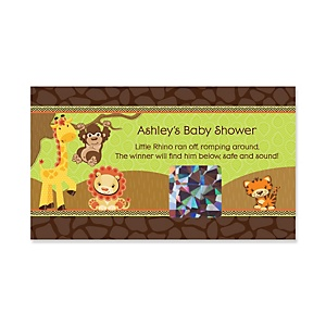 Funfari™ - Fun Safari Jungle - Personalized Baby Shower Game Scratch Off Cards - 22 ct