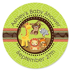Funfari™ - Fun Safari Jungle - Personalized Baby Shower Sticker Labels - 24 ct