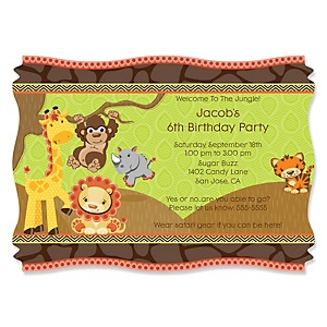 Funfari™ - Fun Safari Jungle - Personalized Birthday Party Invitations - Set of 12
