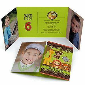 Funfari™ - Fun Safari Jungle - Personalized Birthday Party Photo Invitations - Set of 12