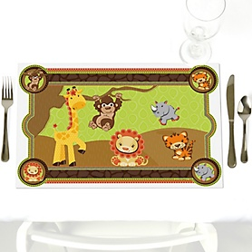 Funfari - Fun Safari Jungle - Party Table Decorations - Baby Shower or Birthday Party Placemats - Set of 12