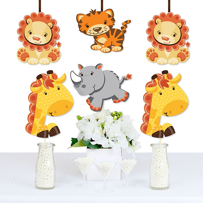 Funfari™ - Fun Safari Jungle - Giraffe, Lion, Tiger and Rhino Decorations DIY Baby Shower or Birthday Party Essentials - Set of 20