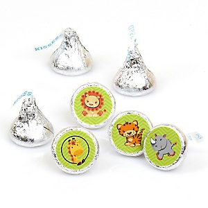 Funfari™ - Fun Safari Jungle - Round Candy Labels Party Favors - Fits Hershey's Kisses - 108 ct