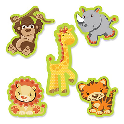 Funfari fun safari jungle shaped party paper cut outs for Baby shower decoration cutouts