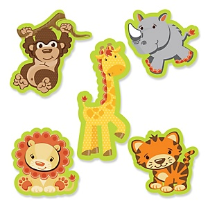 Funfari™ - Fun Safari Jungle - Shaped Party Paper Cut-Outs - 24 ct
