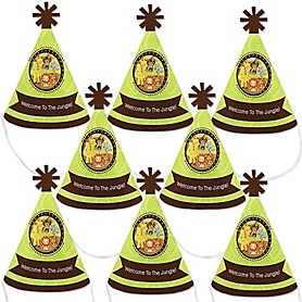Funfari™ - Fun Safari Jungle - Mini Cone Baby Shower or Birthday Party Hats - Small Little Party Hats - Set of 8