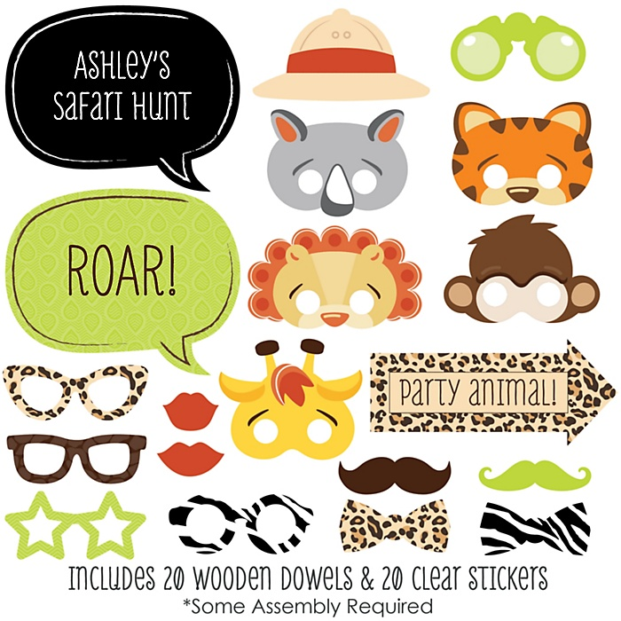 Funfari™ - Fun Safari Jungle - 20 Piece Photo Booth Props Kit