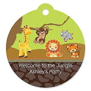 Funfari™ - Fun Safari Jungle - Round Personalized Party Tags - 20 ct