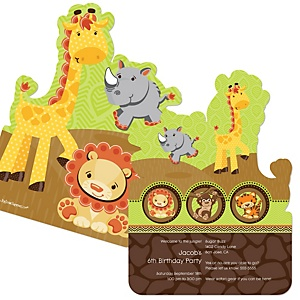 Funfari™ - Fun Safari Jungle - Shaped Birthday Party Invitations - Set of 12