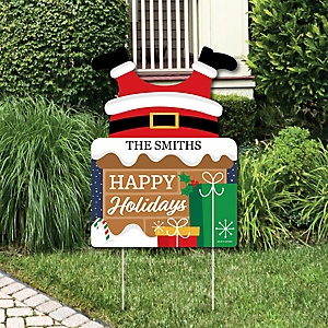 Santa Claus Stuck in Chimney - Party Decorations - Funny Christmas Personalized Welcome Yard Sign