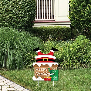 Santa Claus Stuck in Chimney - Outdoor Lawn Sign - Funny Christmas Yard Sign - 1 Piece