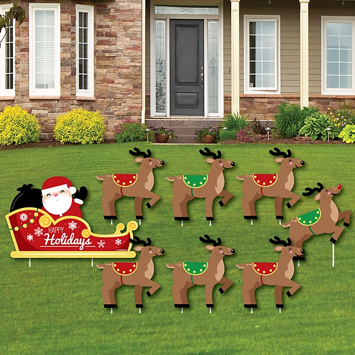 Santa's Reindeer - Yard Sign and Outdoor Lawn Decorations - Santa Claus Christmas Yard Signs - Set of 8