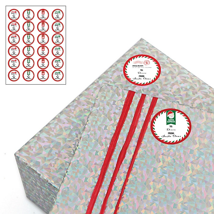 Santa's Special Delivery - 24 Round Sticker Personalized Christmas Gift Tags