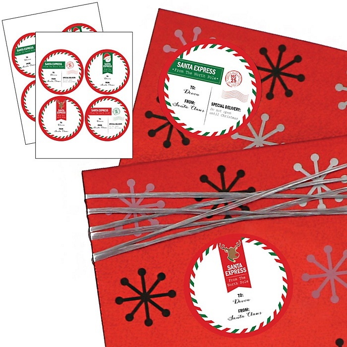 Santa's Special Delivery - Large Round Sticker Personalized Christmas Gift Tags - Set of 8