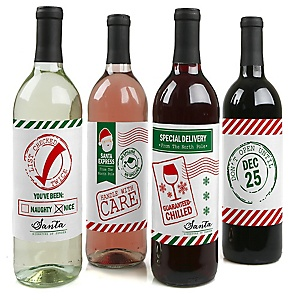 Santa's Special Delivery - From Santa Claus Christmas Decorations for Women and Men - Wine Bottle Label Stickers - Set of 4